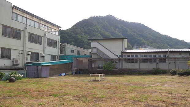 左から北棟、西棟、向かいが体育館