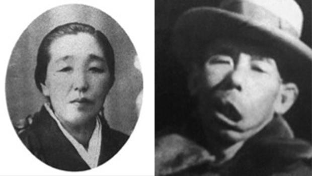 富士育児院創設者 渡辺代吉(右)と第2代院長 渡辺まつ