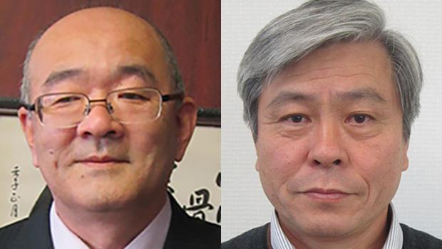 鎌田真雄・弘善会常務理事(左)、間島康善・讃岐学園事務長